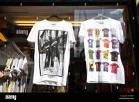 Shop window displays trendy T-shirts, Brick lane, London ...