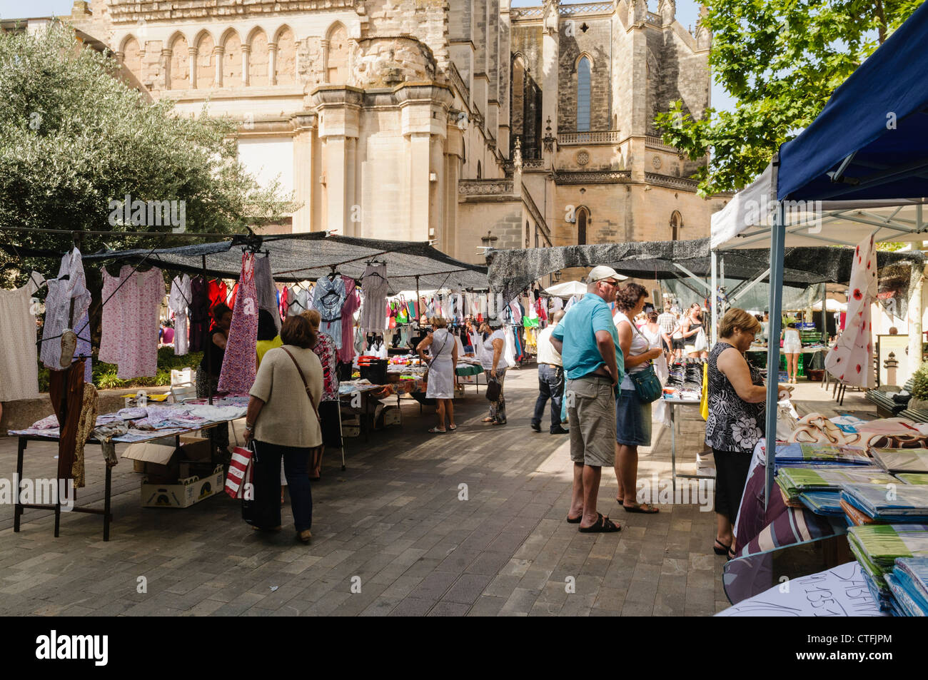 Manacor Shopping Center Market Stalls Around The Cathedral In Manacor, Mallorca