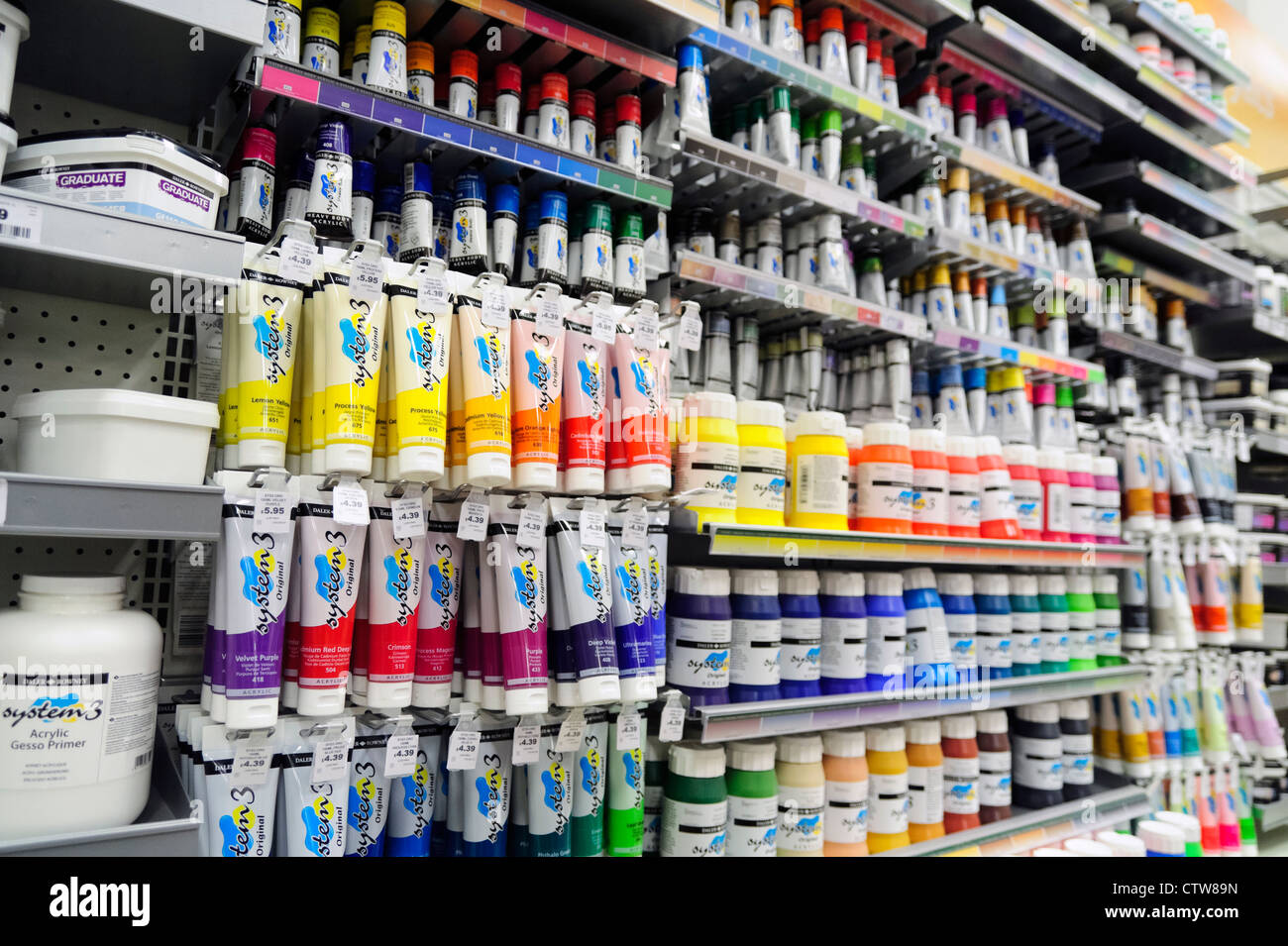 Art Store Art Supplies Tubes Of Acrylic Paint For Sale Inside A Hobby Craft