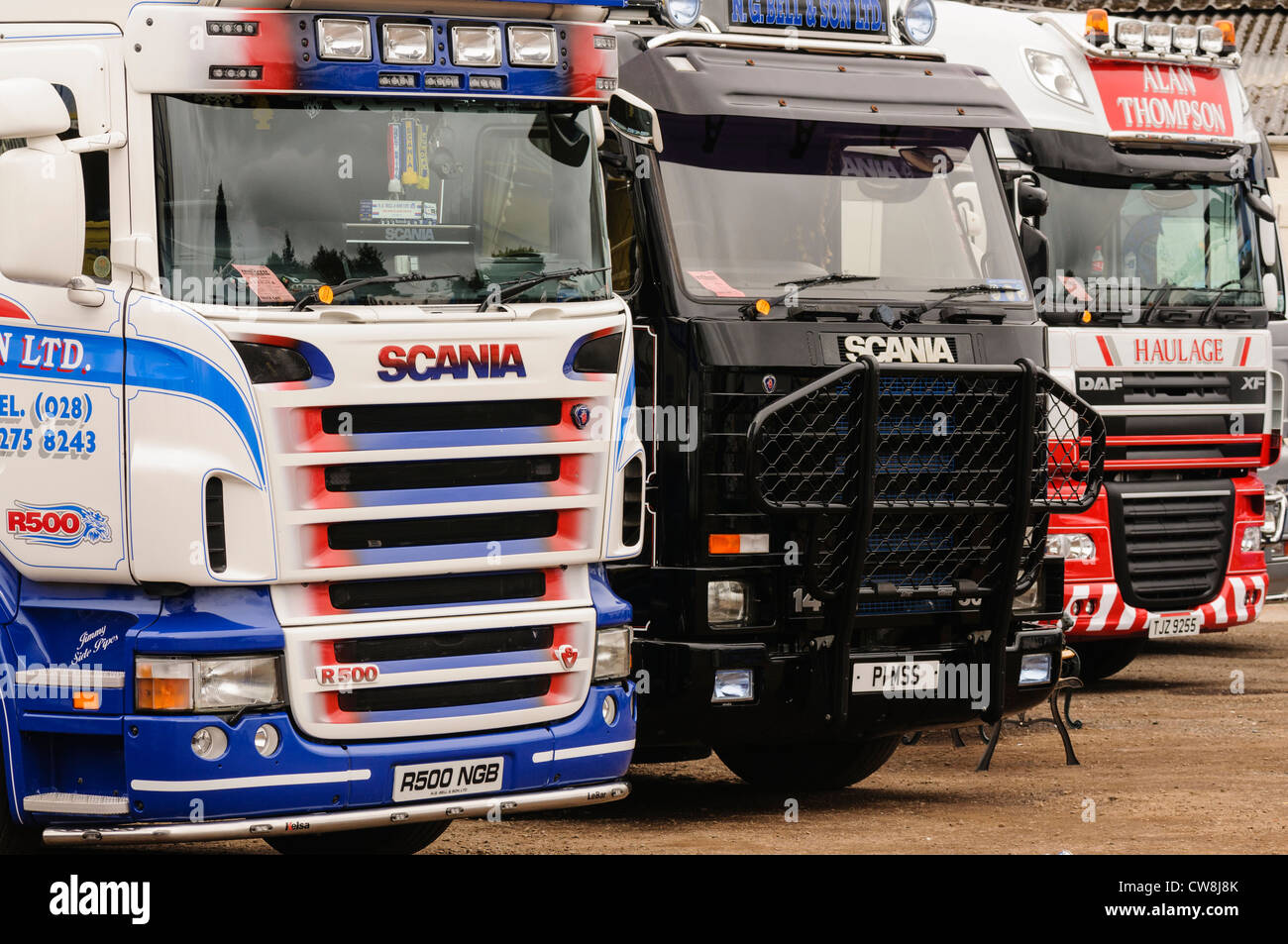 Daf Scania Two Scania R500 Lorries Trucks And One Daf Xf Lorry Parked Up In A