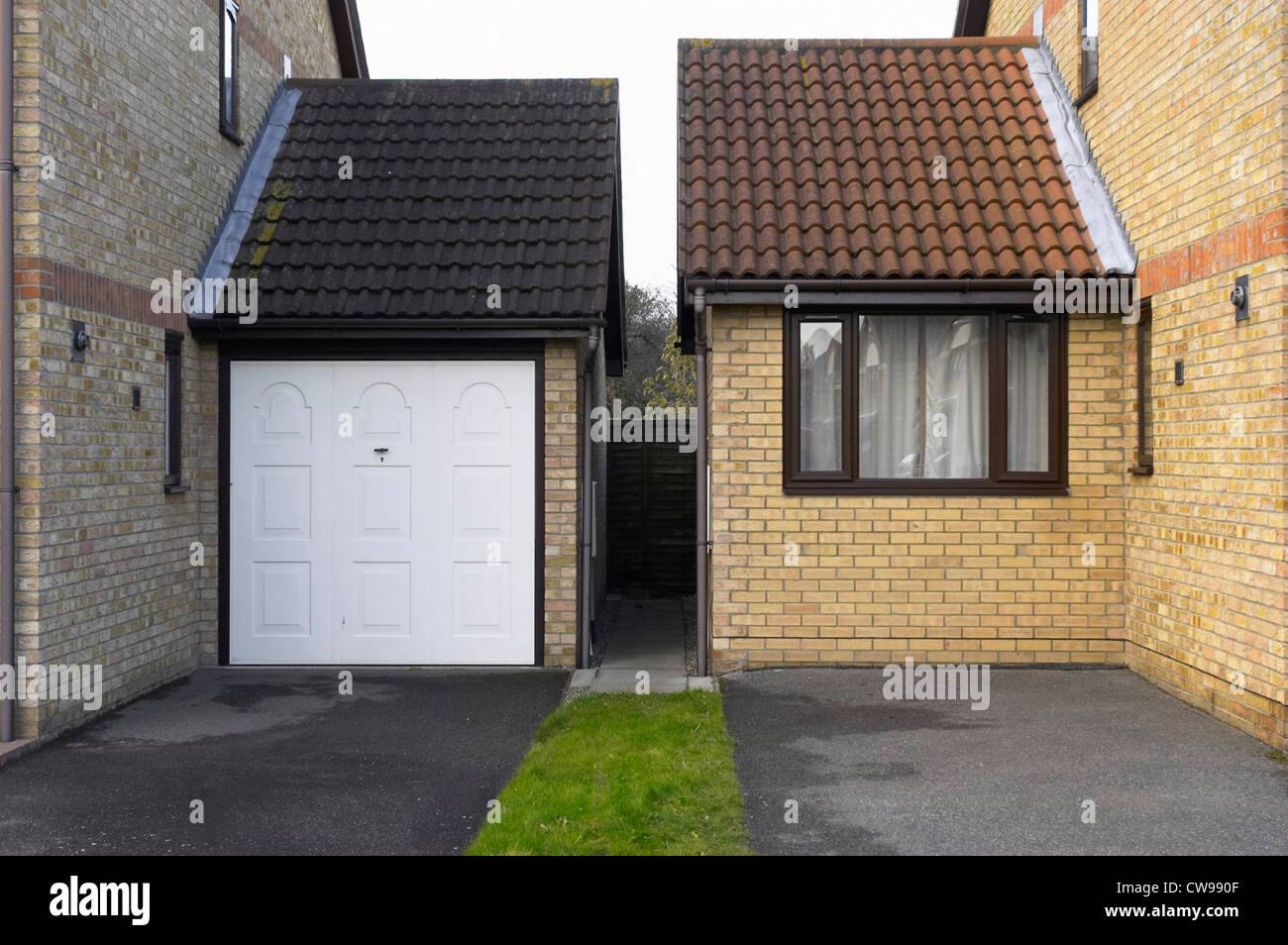Garage Home Extension New Garage Extension And Entrance On A Side Of Houses Stock Photo