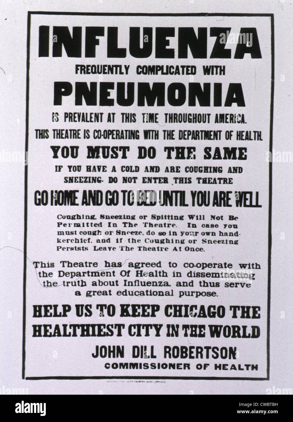 Poster In Spanish Public Health Poster Relating To The Spanish Flu Epidemic In