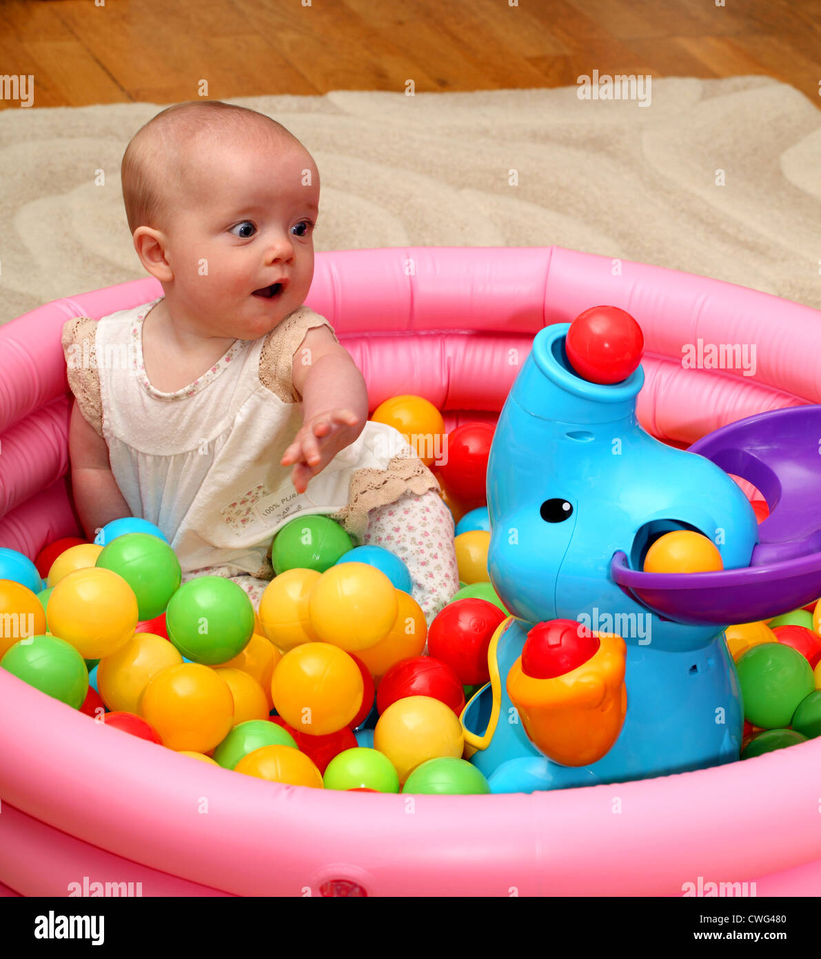 6 Month Old Baby Toys A 6 Month Old Baby Girl Looks Surprised As A Ball Pops Out