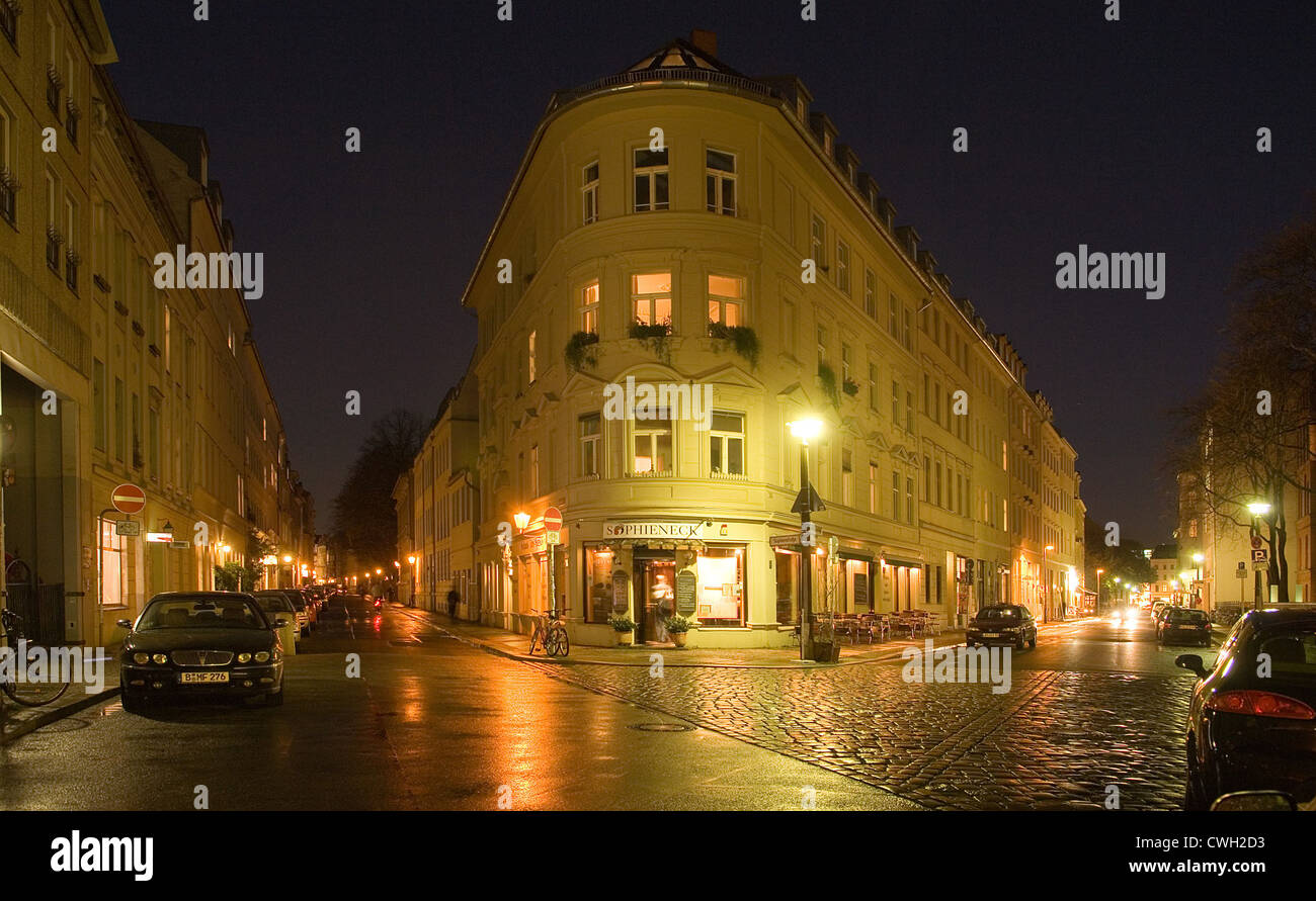 Sophie Grosse Hamburger Strasse Street Corner At Night Berlin Stock Photo Alamy