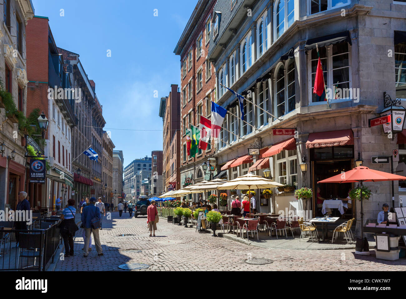 Quebec Montreal Bars Cafes And Restaurants Along Rue St Paul Montreal Quebec