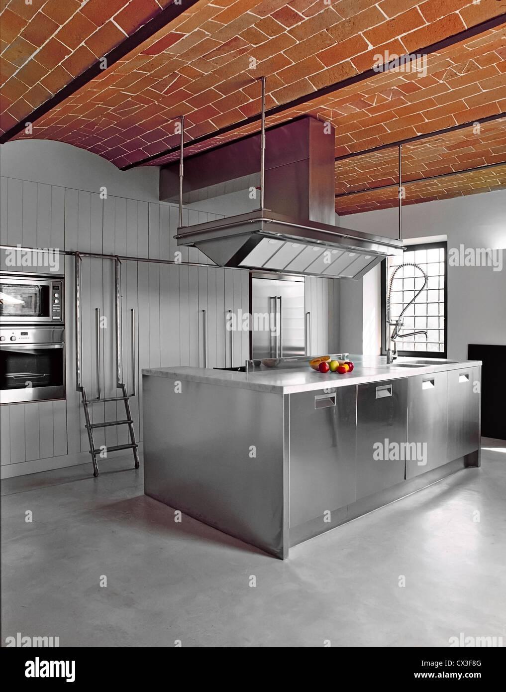 stock photo modern kitchen with concrete floor and bricks vaults concrete floor kitchen Stock Photo modern kitchen with concrete floor and bricks vaults