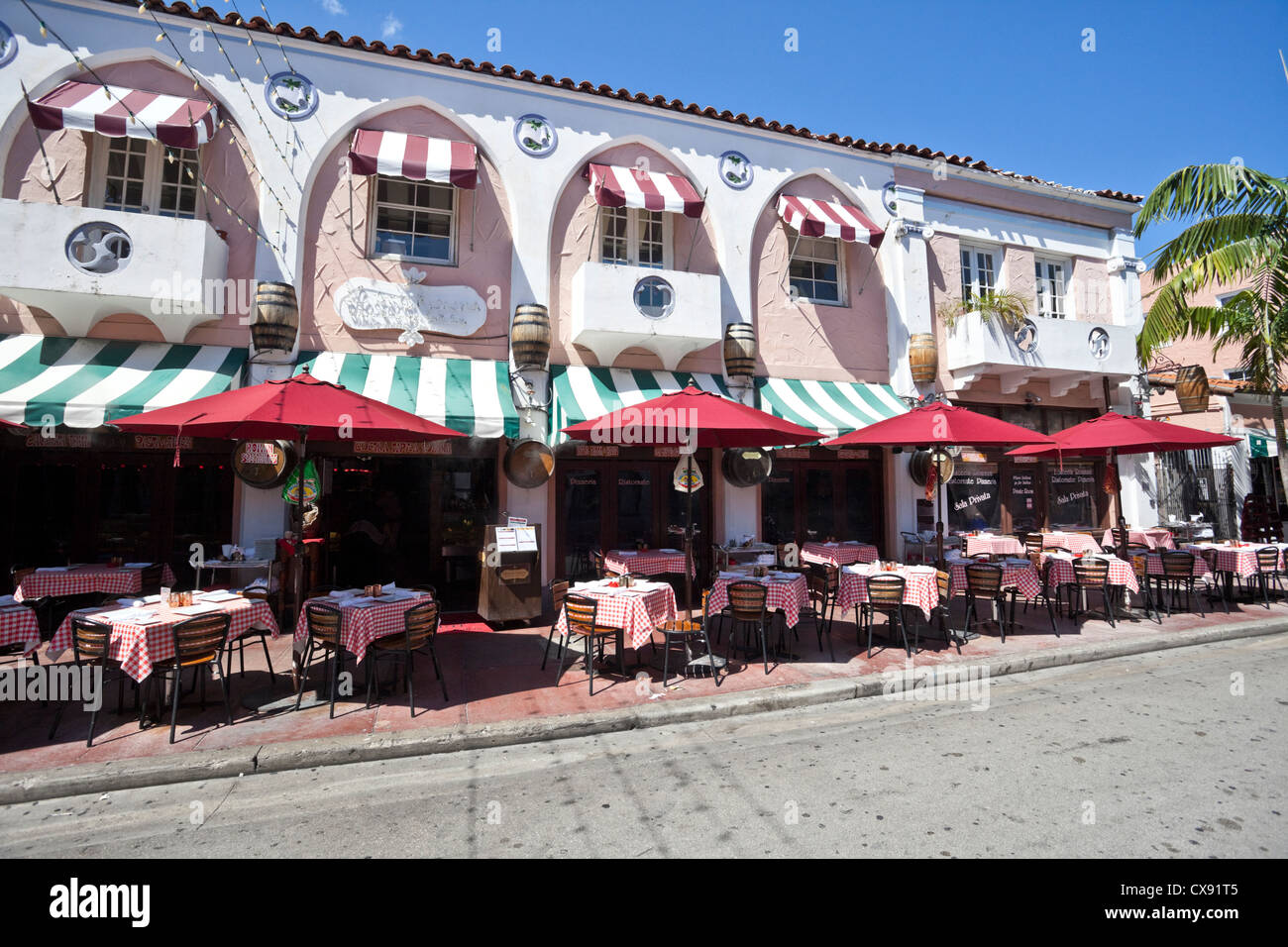 Piccola Cucina Miami Beach Restaurants On Espanola Way Miami Beach Florida Usa Stock Photo