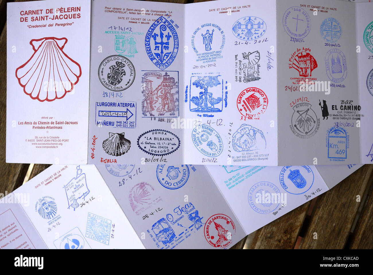 Santiago De Compostela Pilgrim S Passport Showing Stamps Collected Stock Photo 50828581 Alamy - Camino Santiago Passport