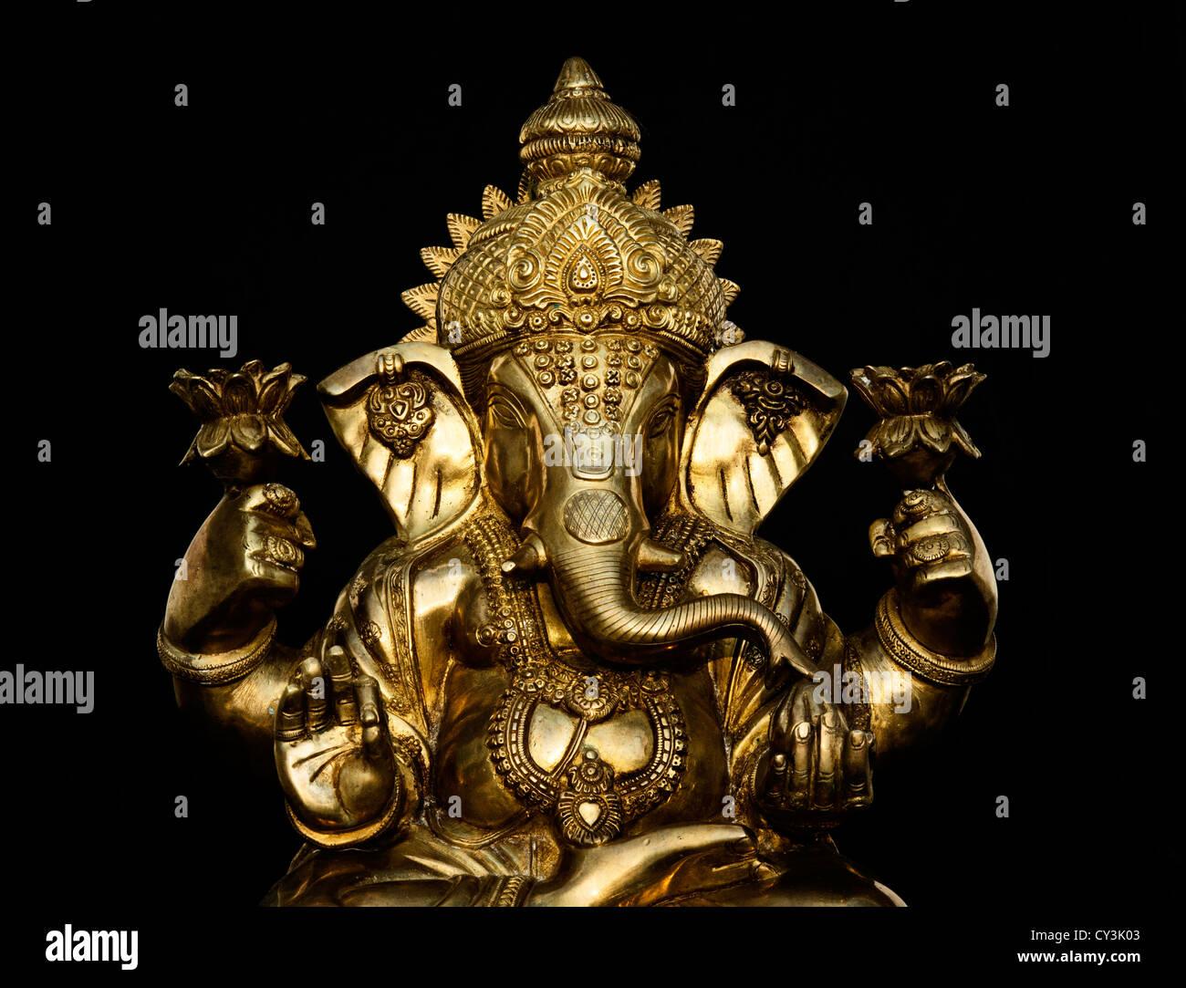 Lord Buddha 3d Live Wallpaper Hindu Elephant God Lord Ganesha Statue Against Black