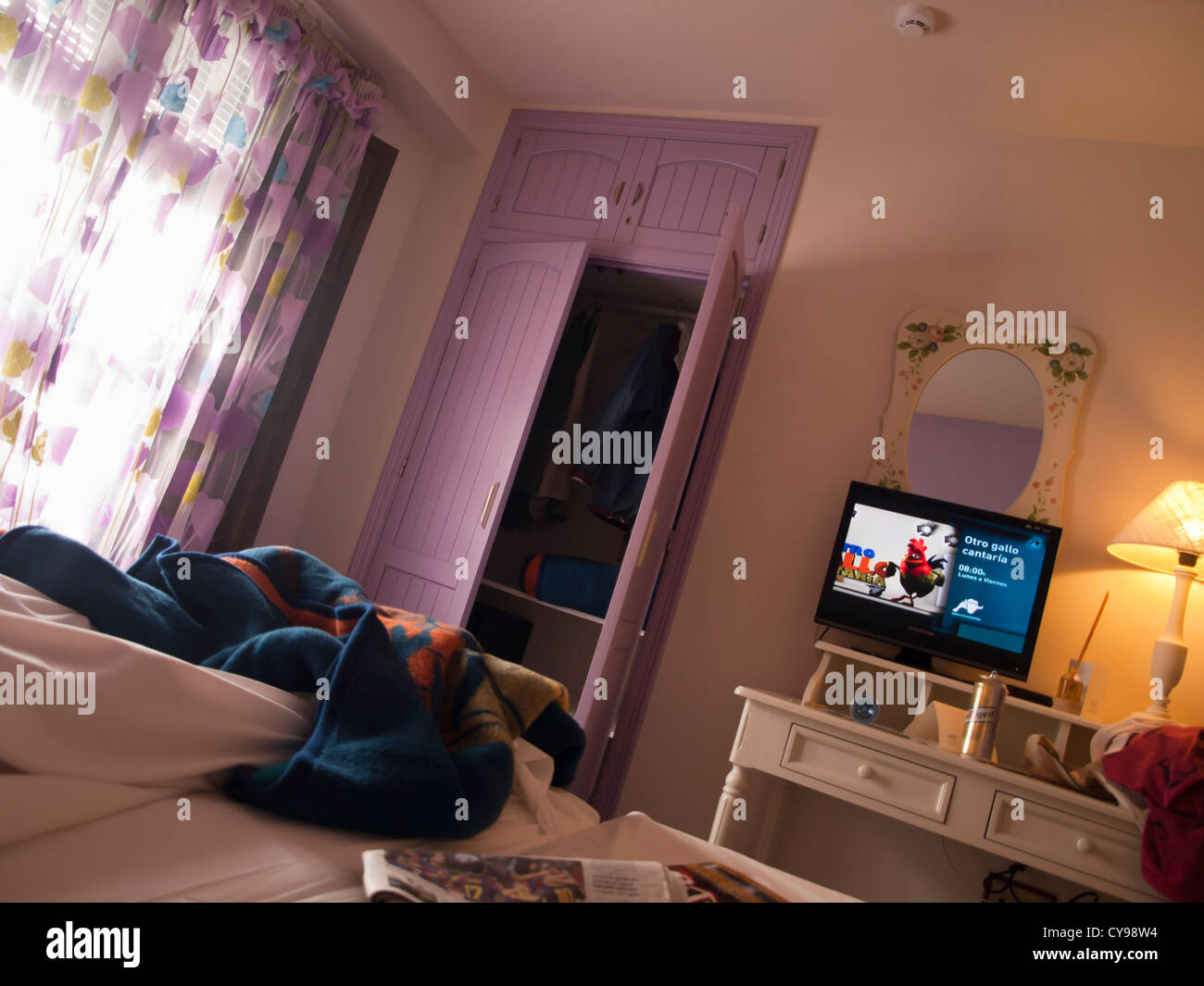 Casa Baños De La Villa Untidy Hotel Room Seen From Bed Television Screen Lilac Paint