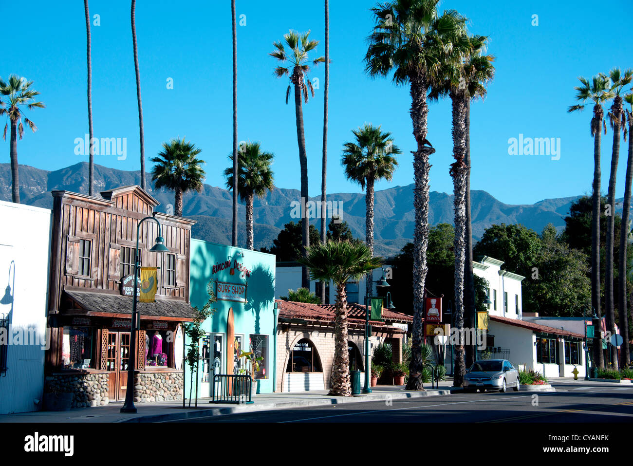 Wallpaper Blue Car Main Street Of Small American Town Of Carpinteria On The