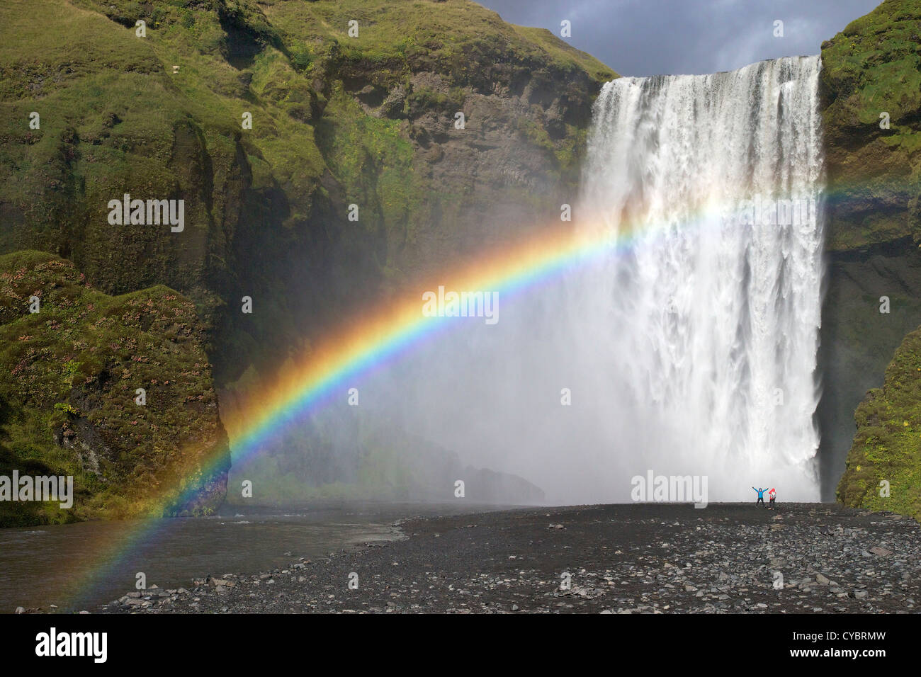 Couple Fall Wallpaper Two People Standing Near Skogafoss Waterfall With Rainbow