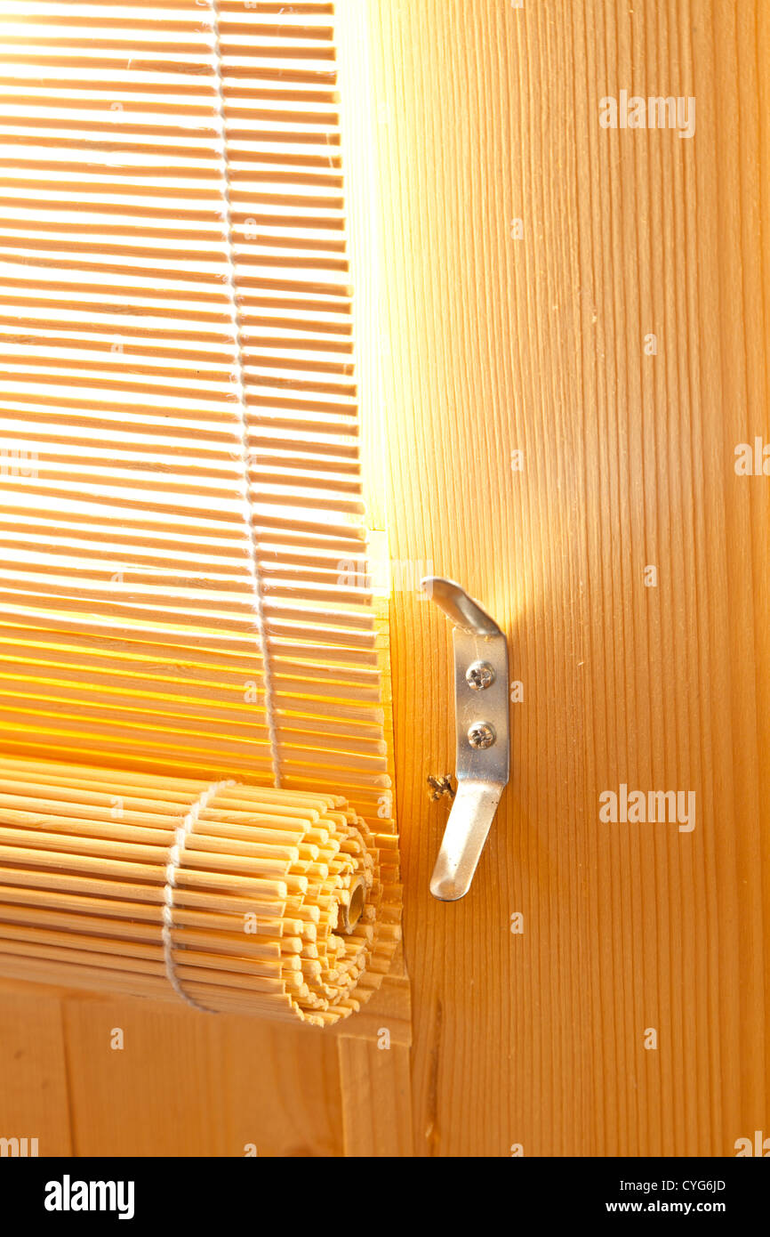 Wooden Door Blinds Bamboo Roller Blinds Sun Shades On Wooden Door Of Garden Summer