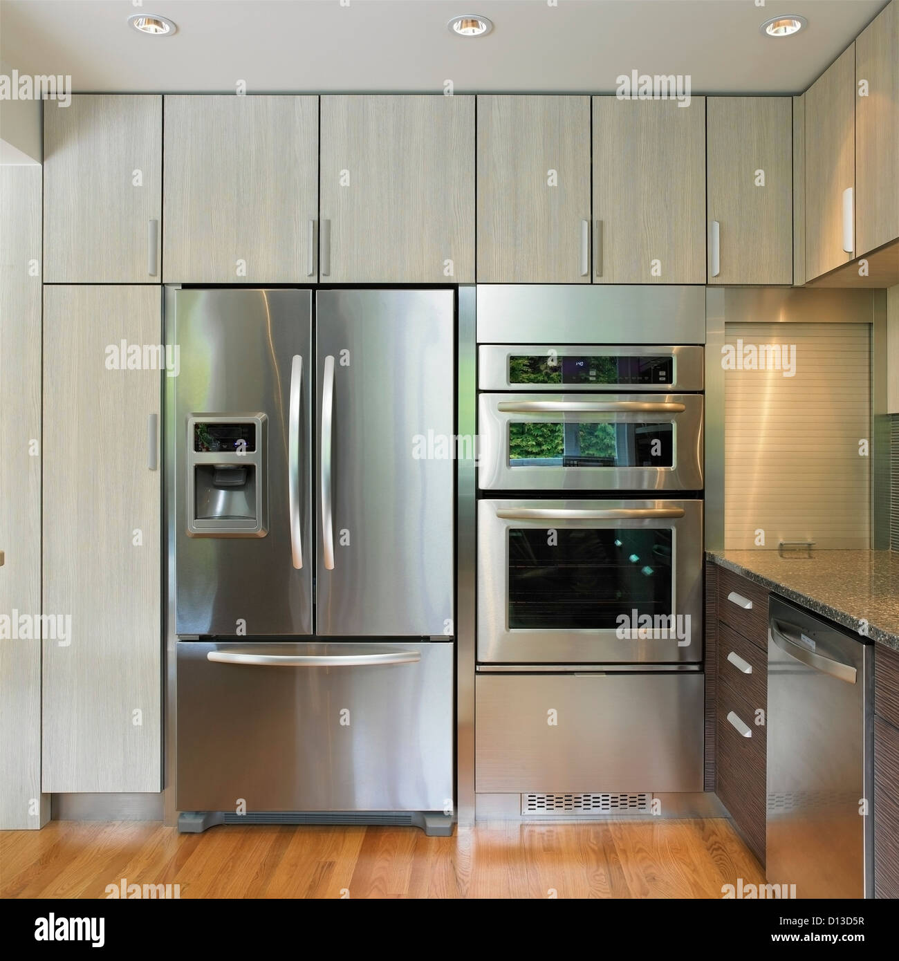 Modular Kitchen Design With Fridge Kitchen Wall Featuring Built-in Fridge And Wall Oven