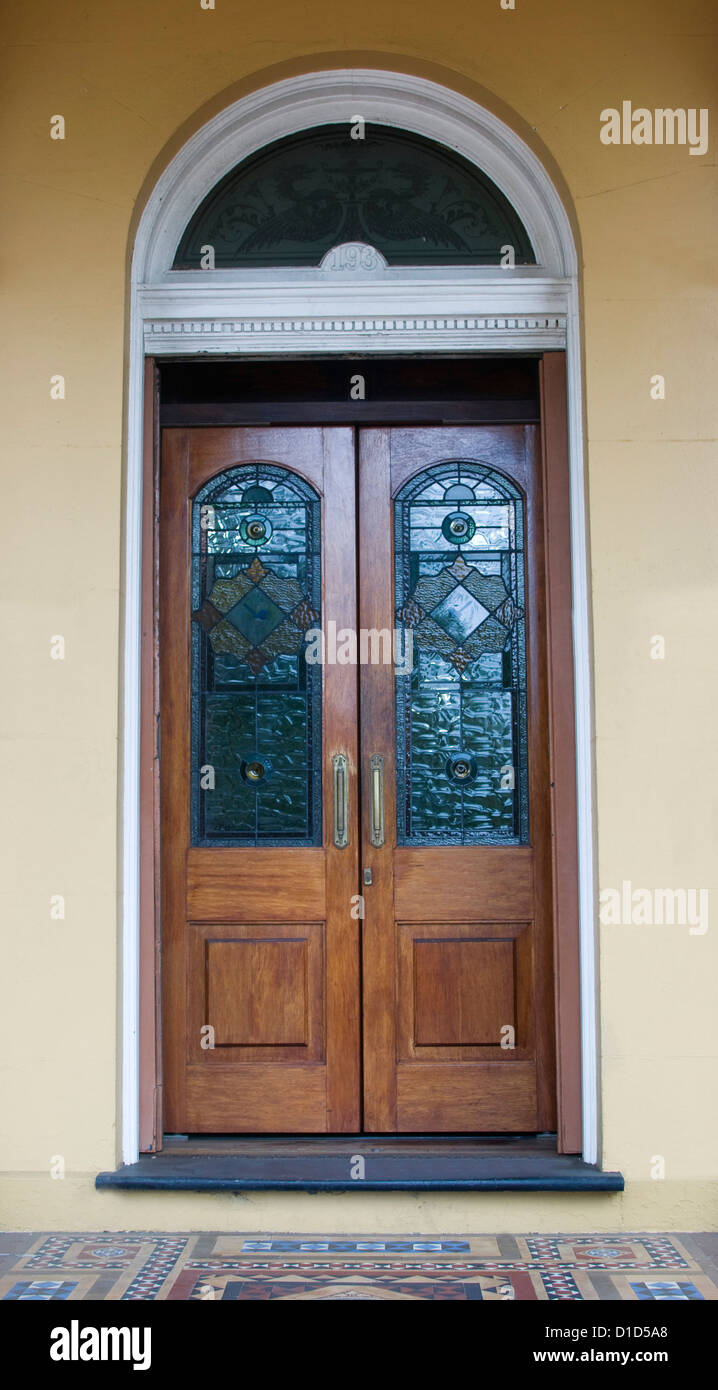 Timber Glass Doors Ornate Double Timber Doors With Colourful Stained Glass Panels And