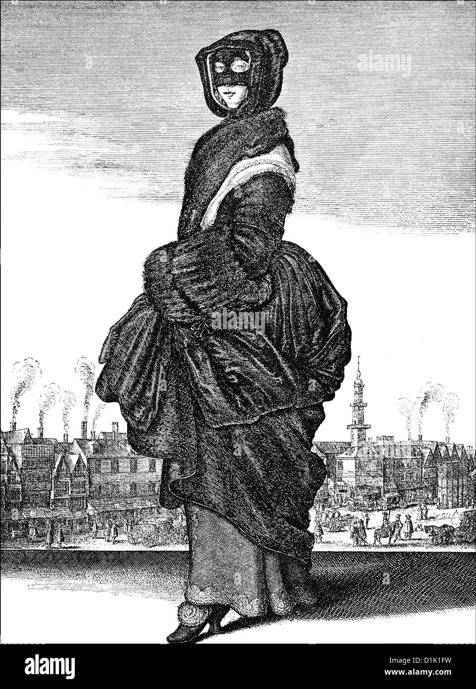 Gesicht Maske Winter Of 1643, A Noble Woman From London Wearing A Mask