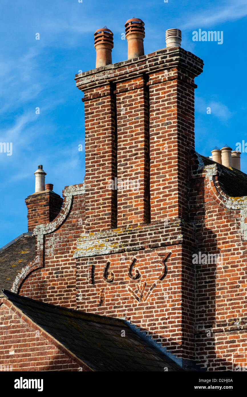 Historic Red Brick Farmhouse With Chimneys Dated 1663 In The Pretty Stock Photo Alamy