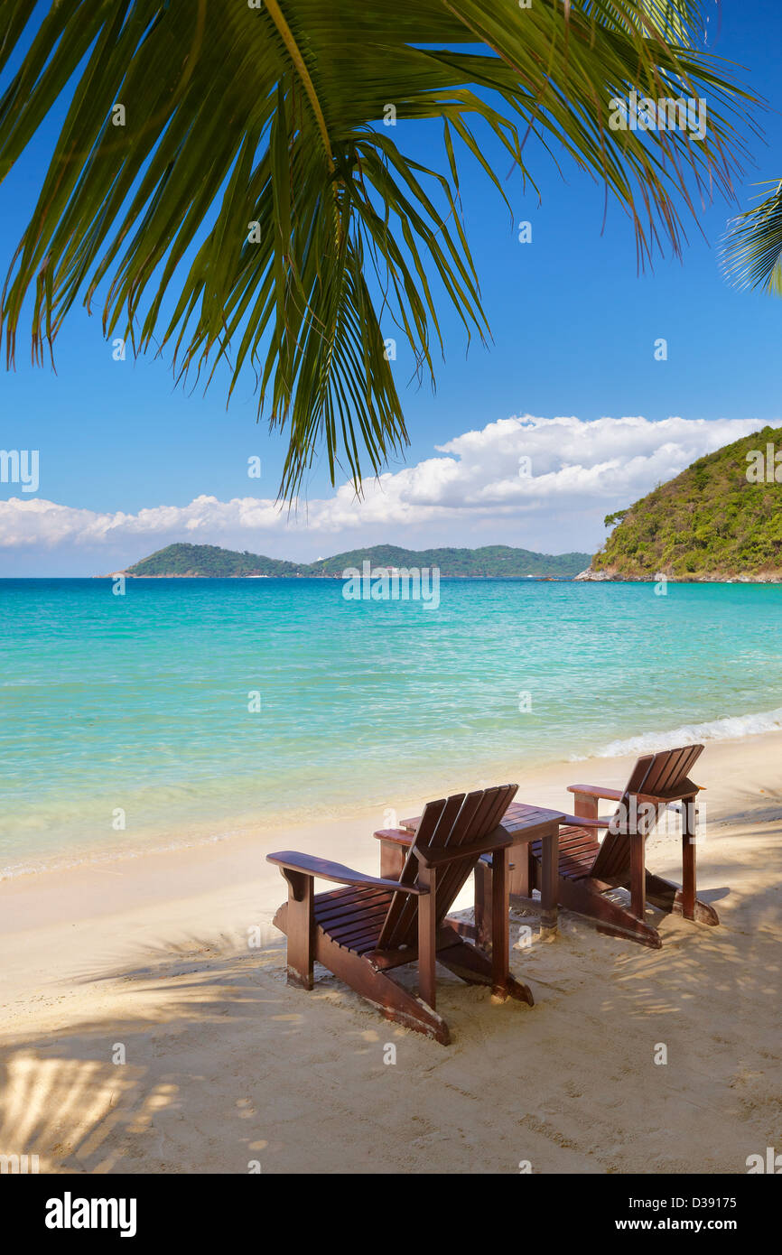 Thailand Two Chairs On The Beach Near The Sea Ko Samet Island Stock Photo Alamy