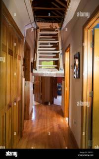 Pull Down Attic Stairs, Trap Door in Hallway of Upscale ...