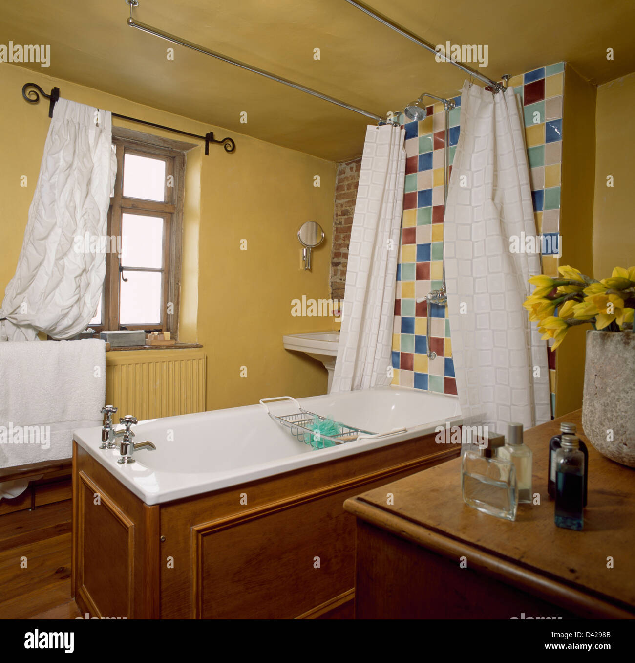 Cottage Shower Curtain White Shower Curtains On Freestanding Wooden Panelled Bath In