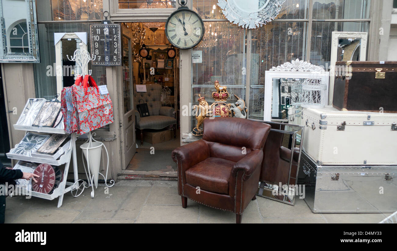 Vintage Display On The Pavement Outside An Antique Furniture Shop In Stock Photo Alamy