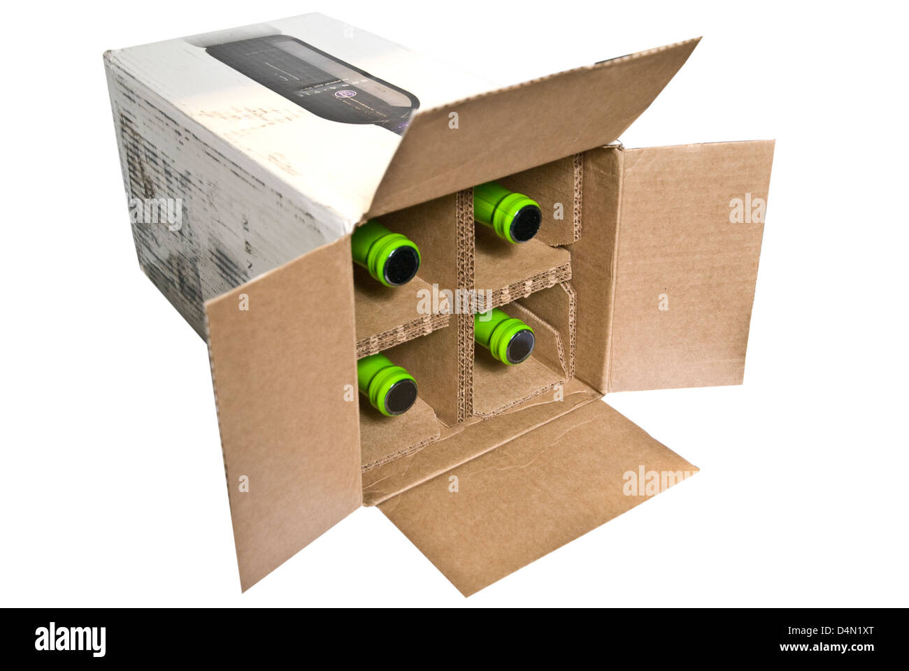 Cardboard Box Dividers Four Bottles In A Cardboard Box With Dividers For Shipping Stock