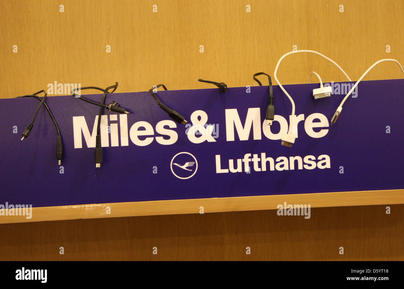 Miles And More India Phone Chargers Are Pictured At The Lufthansa Miles And More Booth