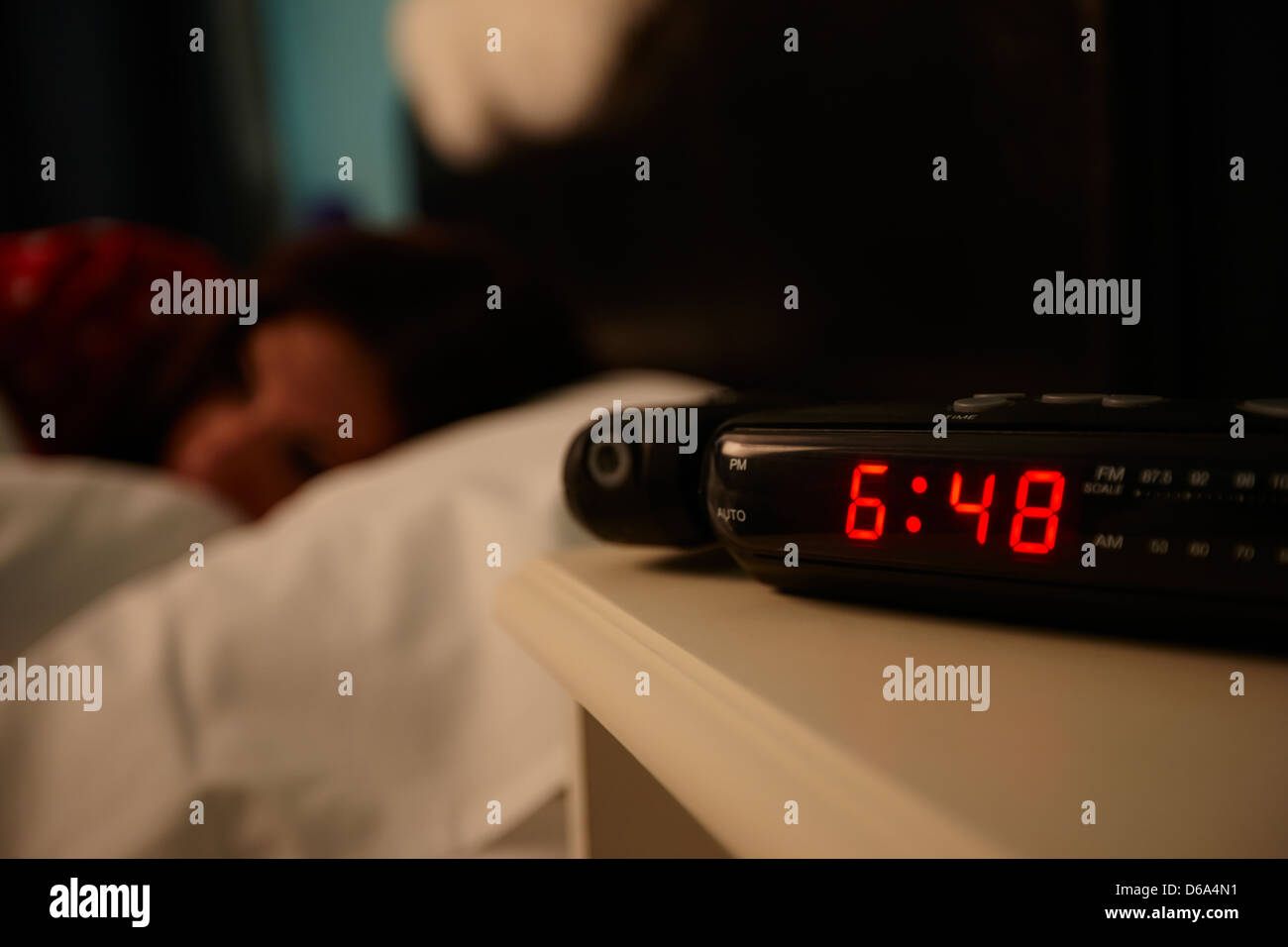 Digital Bedside Clocks Alarm Clock Early Morning With Early Twenties Woman Lying