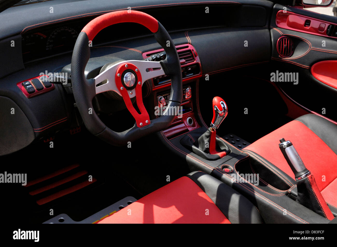 Muscle Car Wallpaper Pack Ownload Custom Car Red And Black Leather Interior Stock Photo