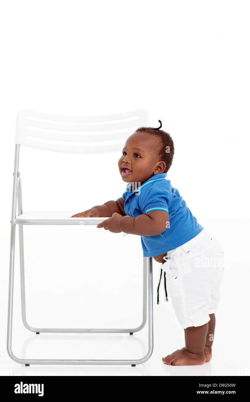 Infant Learning Chair Cute African American Baby Boy Learning To Walk Around A
