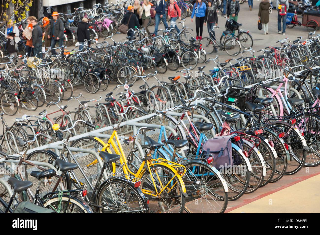 Bikes In Bike Racks In Amsterdam Netherlands A Huge