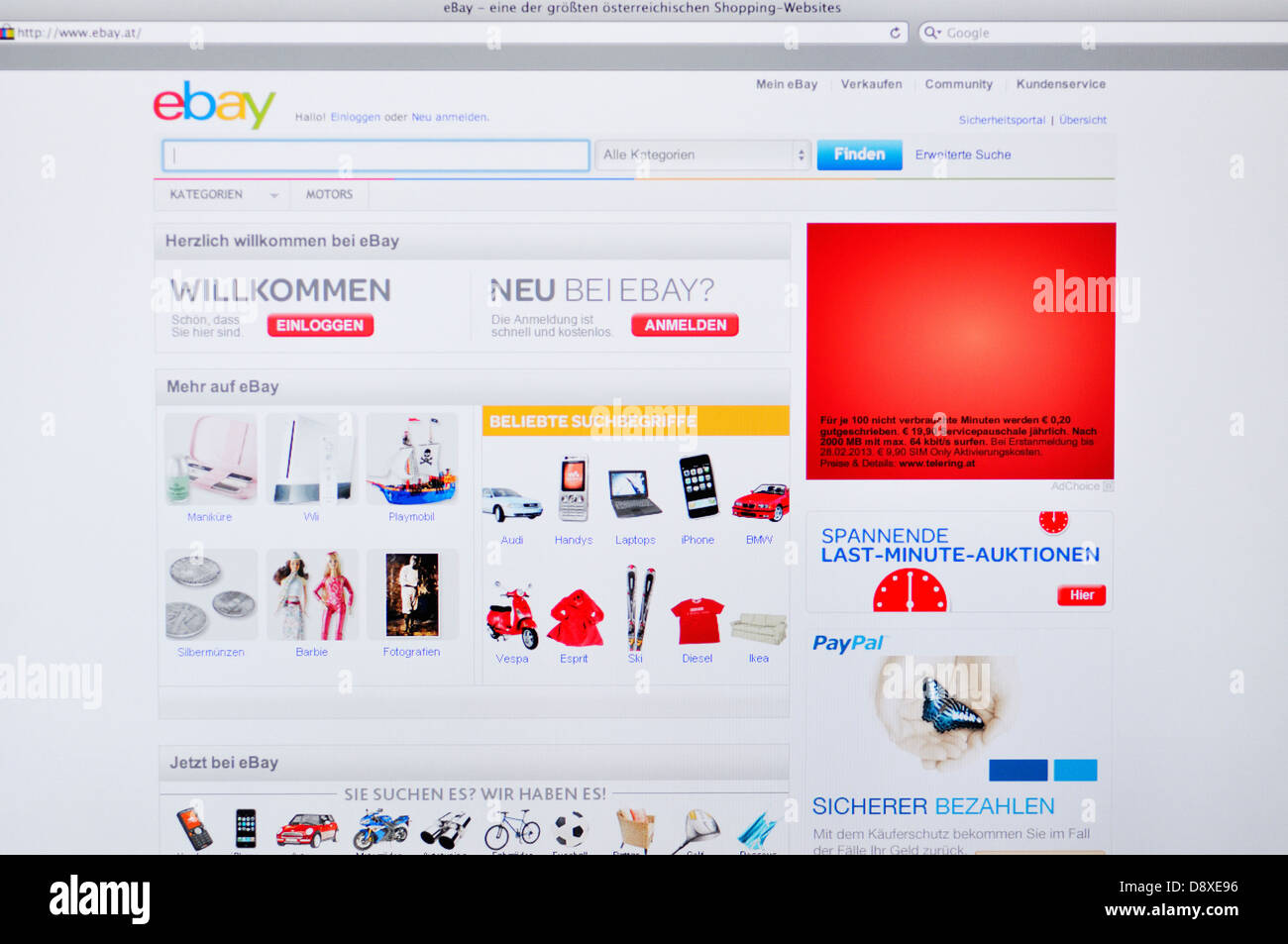 Online Australian Shopping Australia Ebay Online Shopping Website Stock Photo 57130338 Alamy