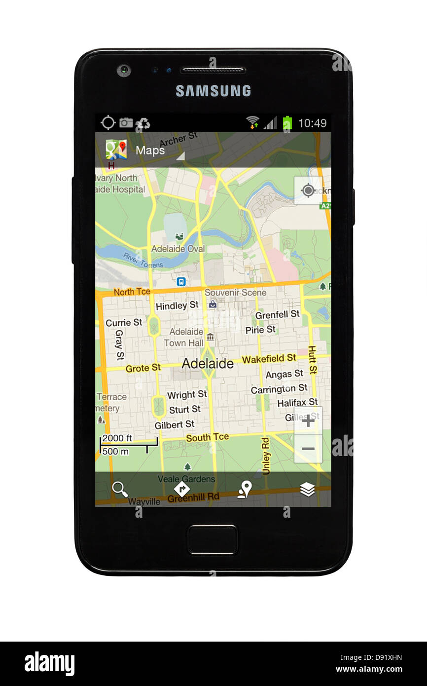 Grote Tablet Samsung Galaxy S2 Smartphone With Google Map Of Adelaide