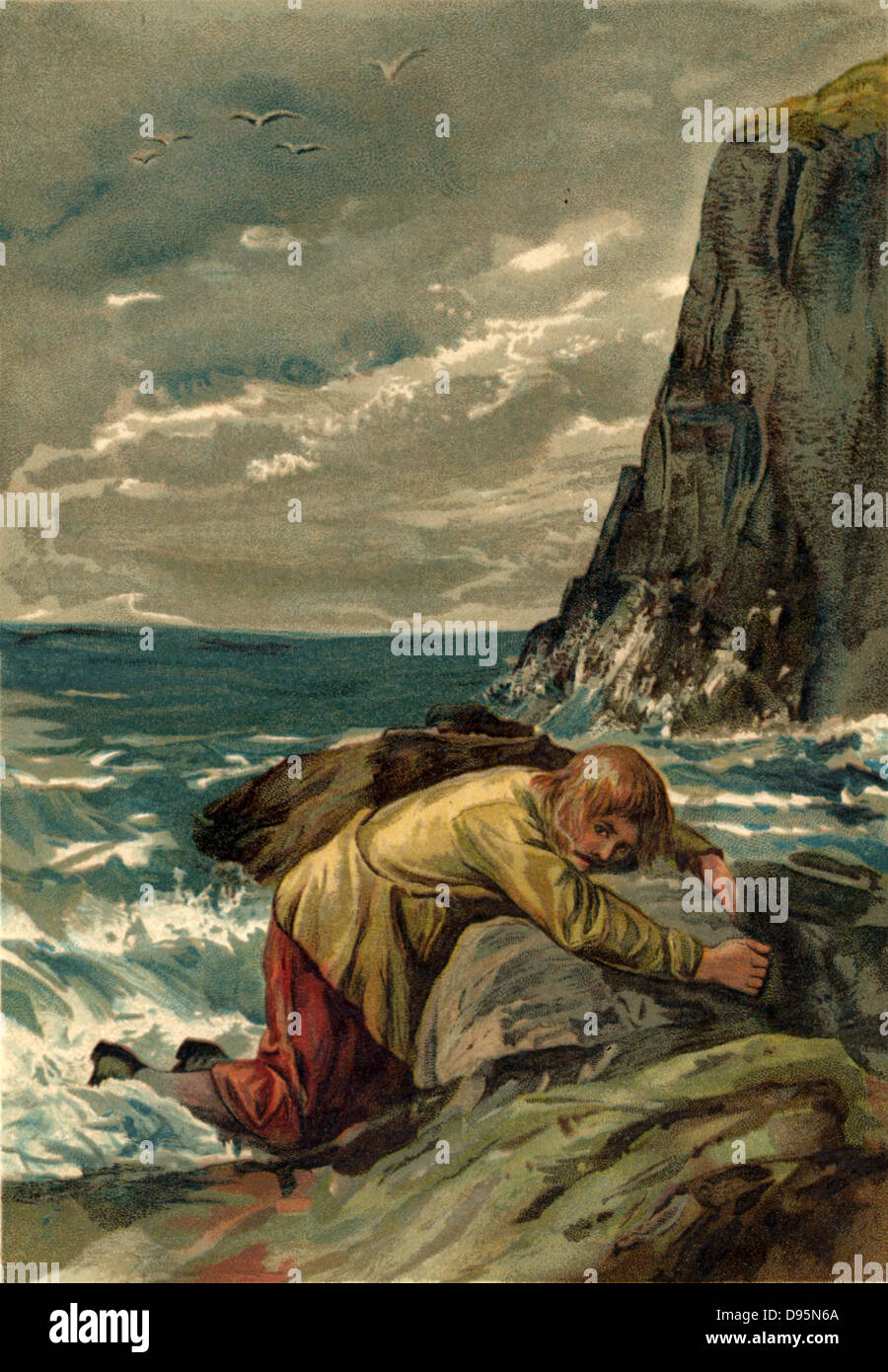 Robinson Crusoe Robinson Crusoe After The Shipwreck Washed Onto The Rocks By The