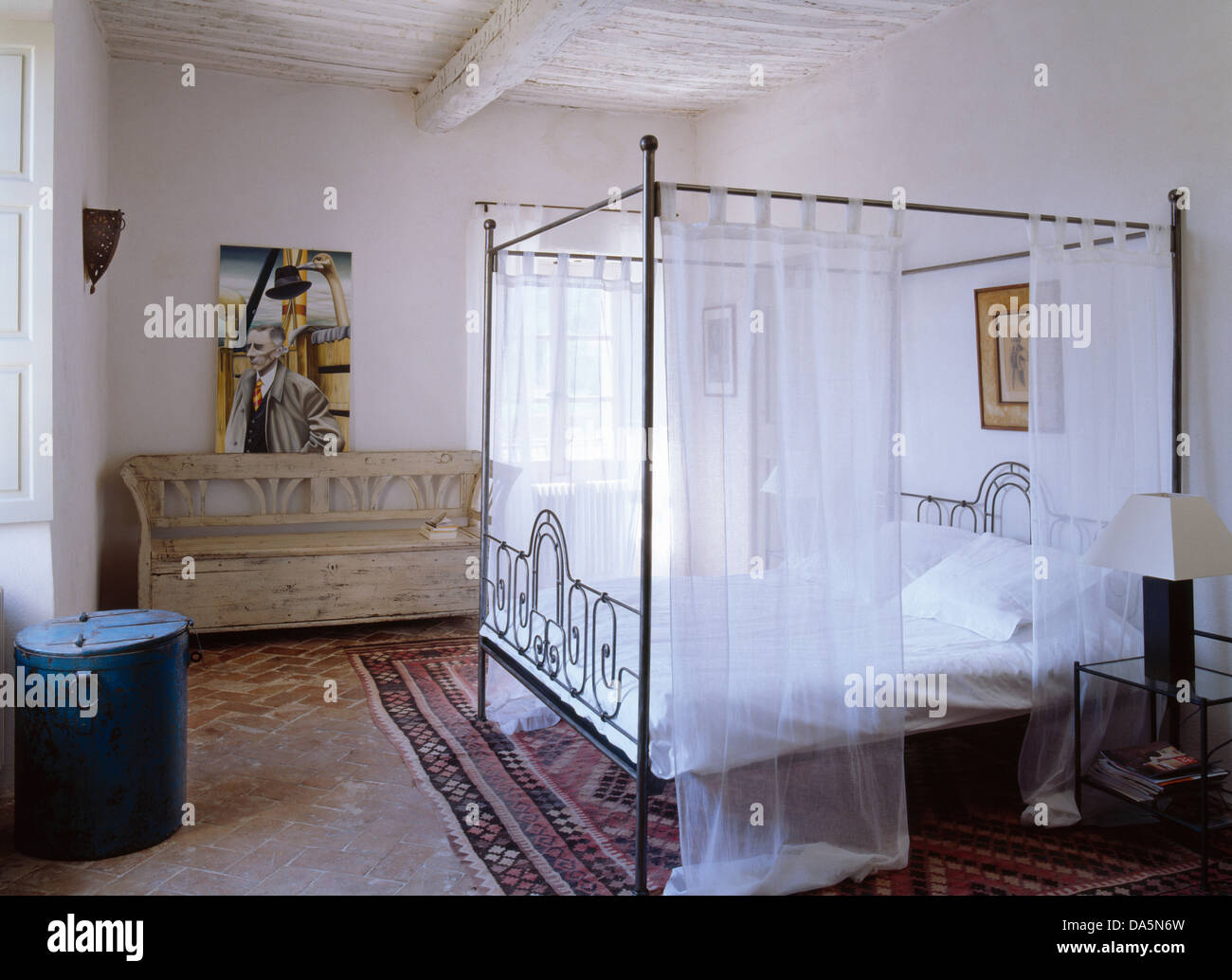 4 Post Bed White Metal Four Poster Bed With White Voile Drapes In White