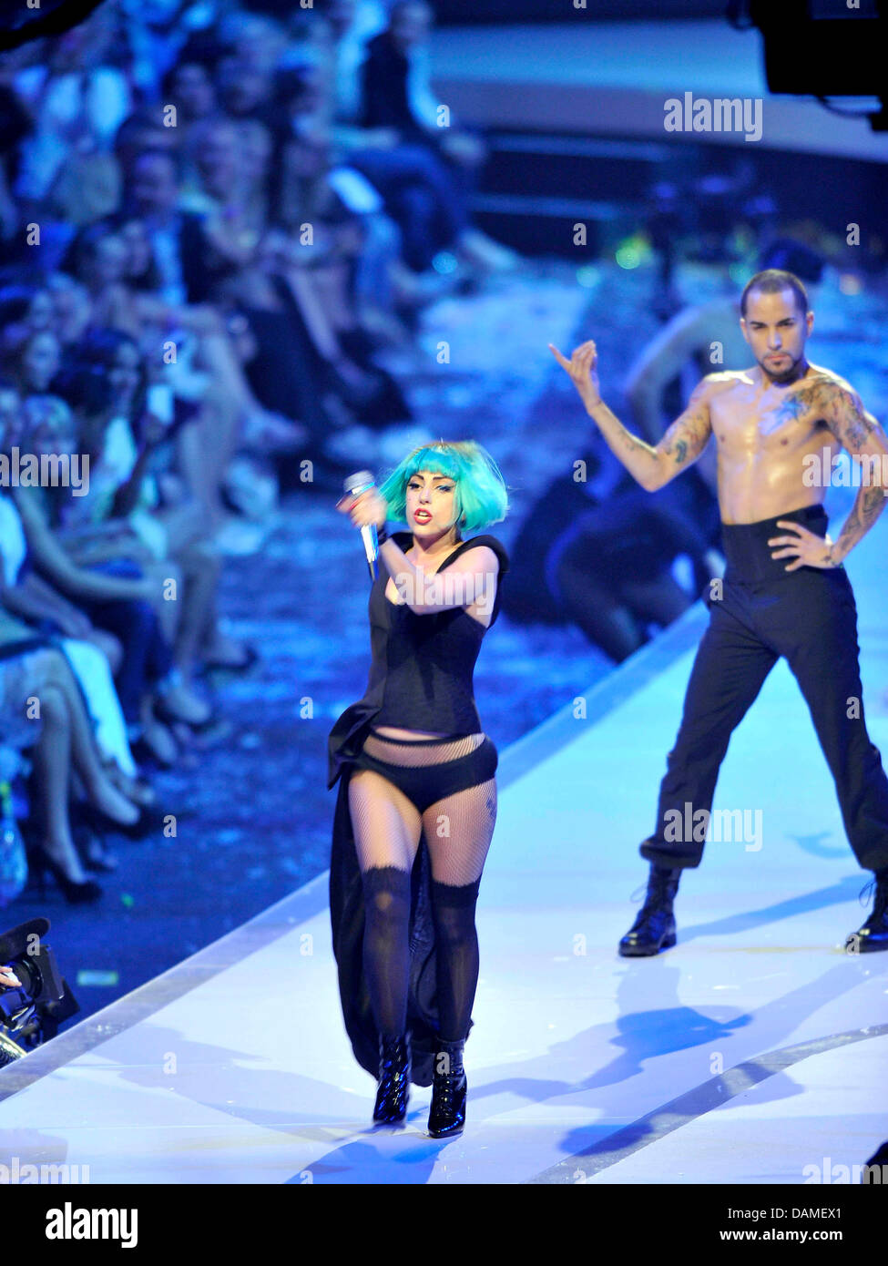 Singer Lady Gaga Performs At The Final Of The Casting Show Germany S Stock Photo Alamy