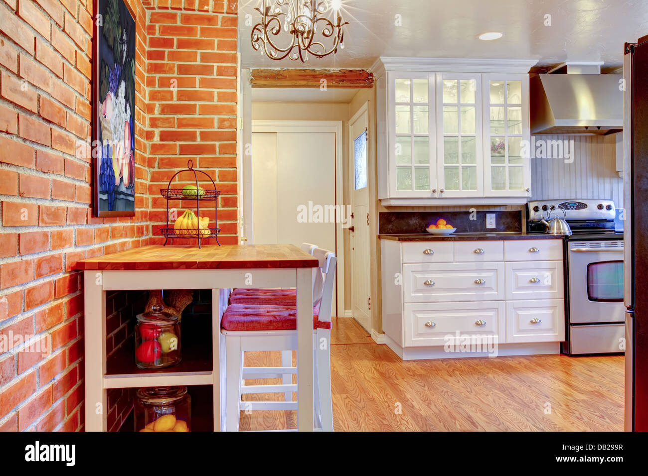 Kitchen Brick Wall White Kitchen With Brick Wall Hardwood And Stainless