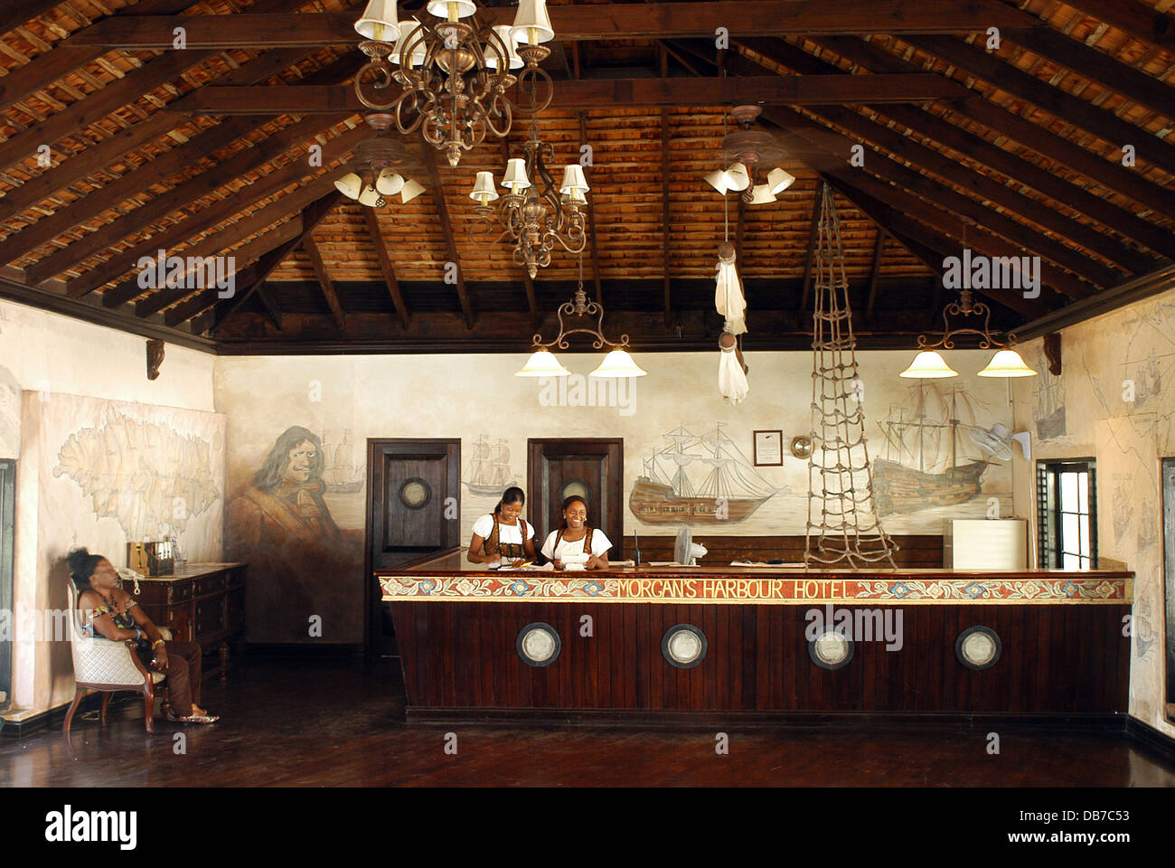 Hotel Port Royal Lobby Morgan S Harbour Hotel Port Royal Jamaica Stock Photo