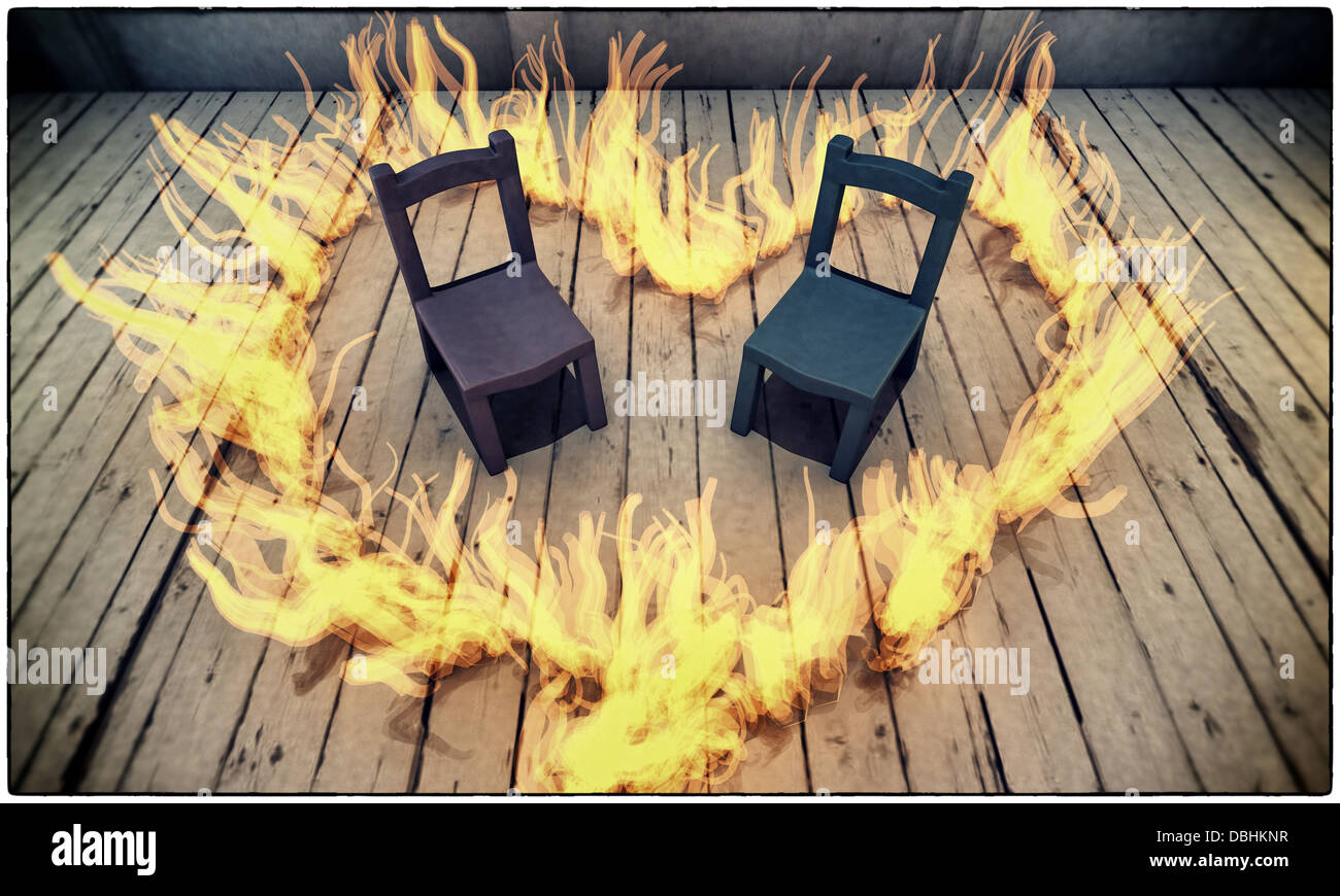 Big W Kids Chair Kids Chairs On Wooden Floor With A Big Heart In Flames Stock Photo