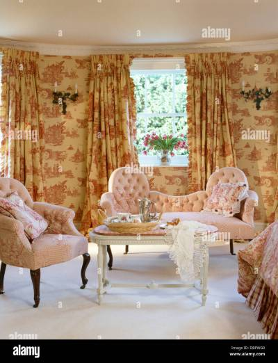 Pink Toile-de-Jouy curtains and matching wallpaper in townhouse Stock Photo, Royalty Free Image ...