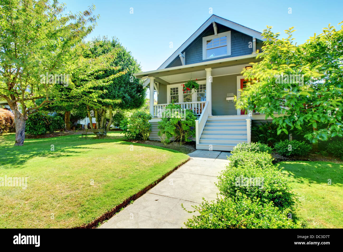 Grey Small Old American House Front Exterior With White Staircase Stock Photo Alamy