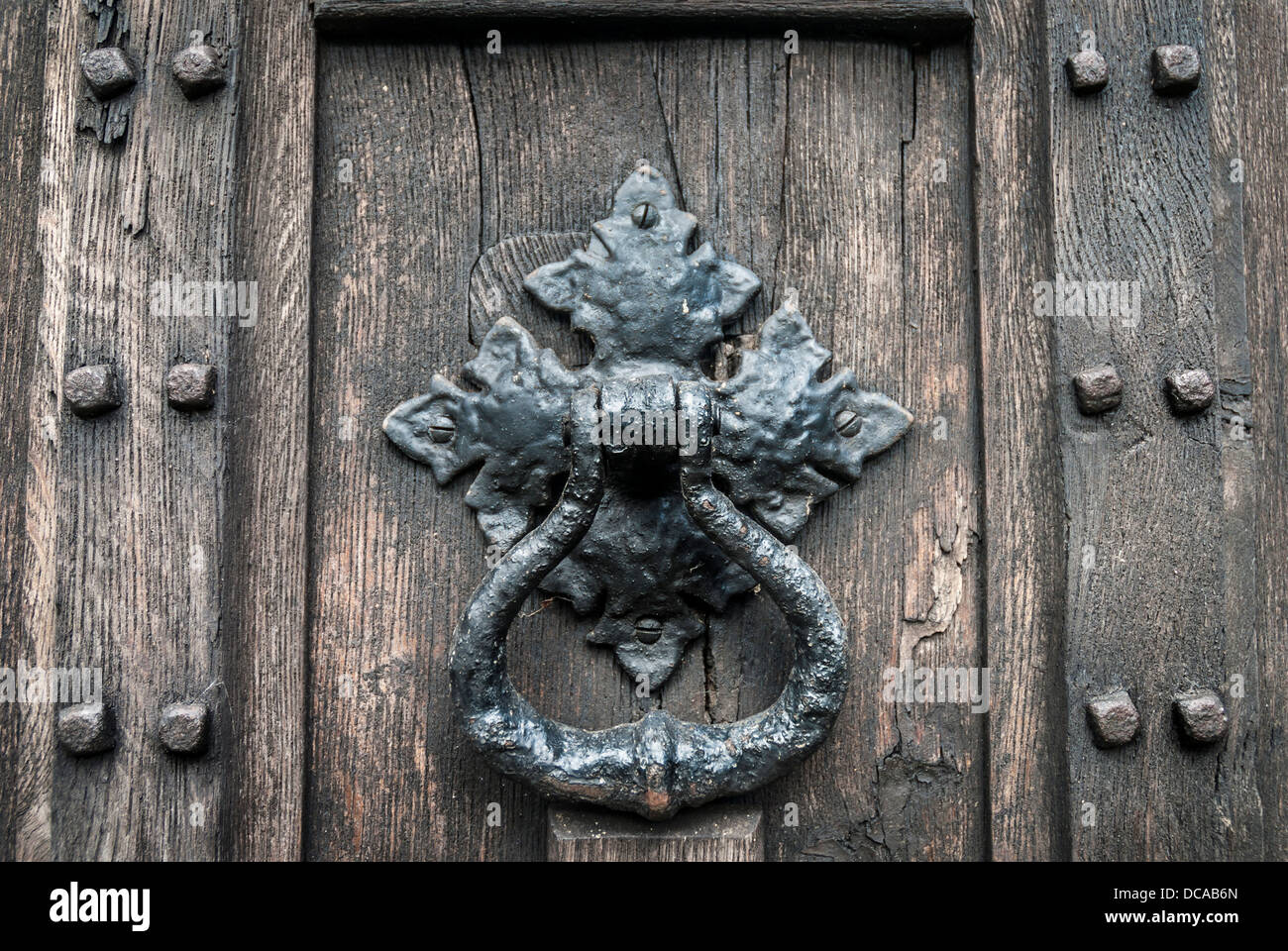 Rustic Door Knockers Old Door Knocker On Rustic Wooden Door Stock Photo