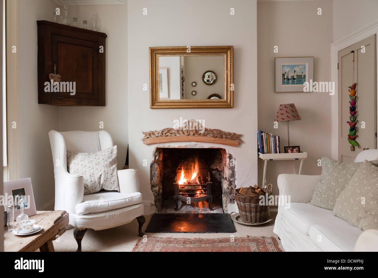 Lit Fabric Living Room With Lit Fire In Bristol Home Of British Fabric
