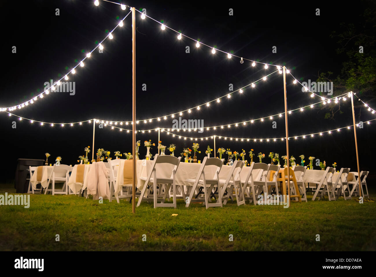 Outdoor Party Lights Usa Texas Outdoor Wedding Reception With Party Lights At Night