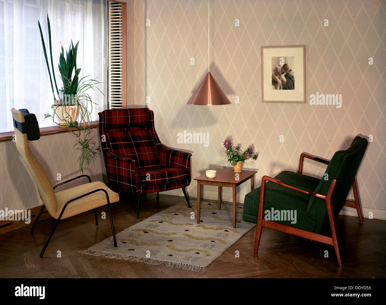 Swedish Living Room Living Room In An Ordinary Swedish Flat 1950s Stock Photo