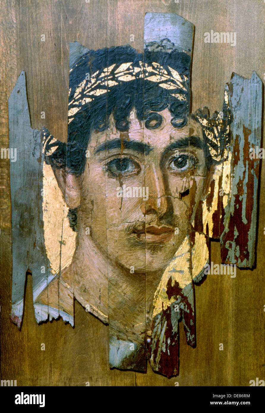 Pittura Romana Fayum Portrait Of A Youth In A Gold Wreath Fayum Mummy Portrait Stock