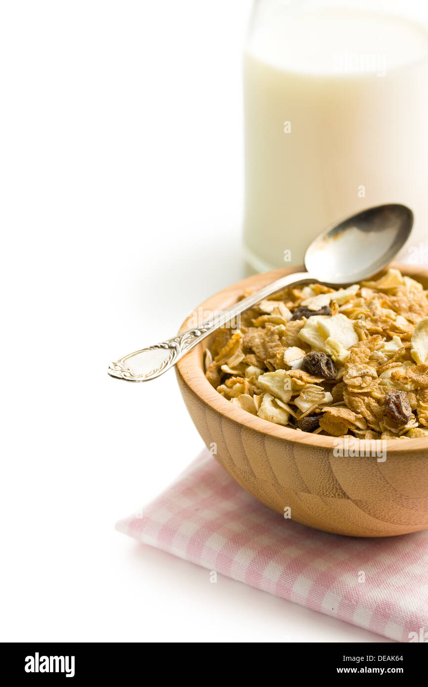 Müsli Crunchy Crunchy Muesli In Wooden Bowl On White Background Stock Photo