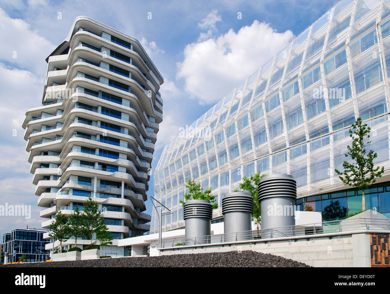 Marco Polo Tower Modern Residential And Office Buildings, Marco Polo Tower And German Stock Photo - Alamy