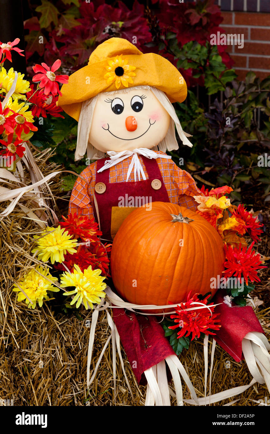 Wallpaper For Fall And Autumn A Fall Public Display Of Scarecrow Pumpkins Flowers And