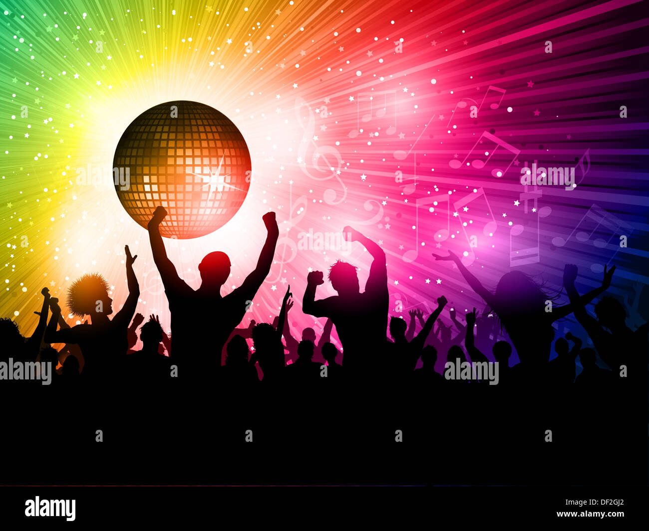 Free Girl Wallpaper Download Mobile Silhouette Of A Party Crowd On A Disco Ball Background